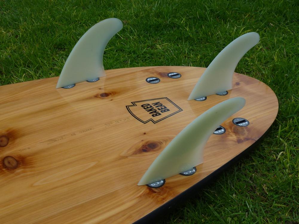baked bean wooden surfboard fins