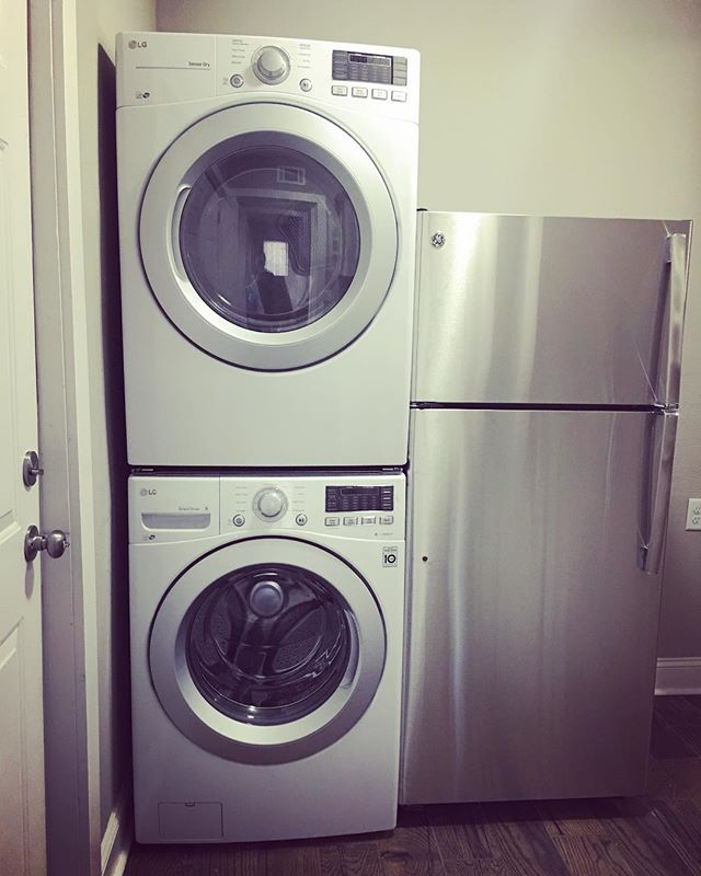 Doing some laundry on this lazy Sunday, wishing that I had the washer and dryers that we installed at the #hexplex rather than my old ones at home!  We still have a few units available for rent, lease one today and use these beauties!