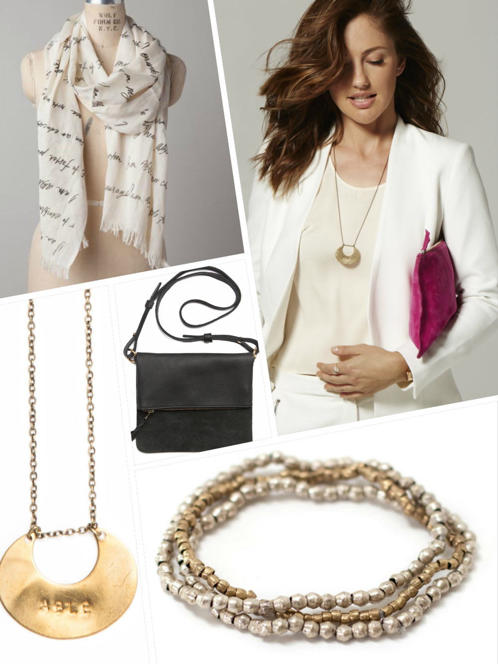 Clockwise from top left:  The ABLE Scarf , Minka holding the  Hibret Zippered Pouch ,  Tizita Bracelets ,  ABLE Necklace , and  Agnes Foldover Crossbody Bag