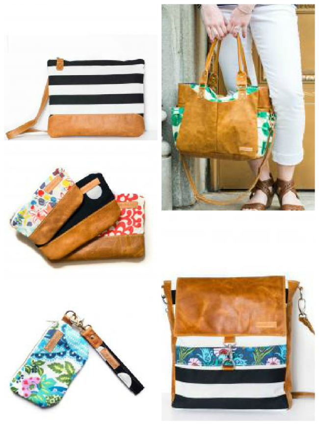 Clockwise from top left:  Laptop Sleeve ,  Linda ,  Brynnda ,  Wristlet Set , and  Nesting Pouches with Leather Bands .