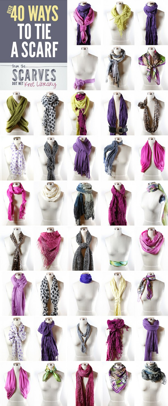 Click this image for instructions on these looks and to visit a website dedicated to how to tie scarves