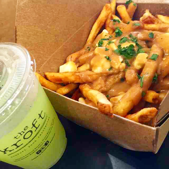 Not waistline friendly, but very taste-bud friendly: classic poutine and cucumber lemonaid from The Kroft.
