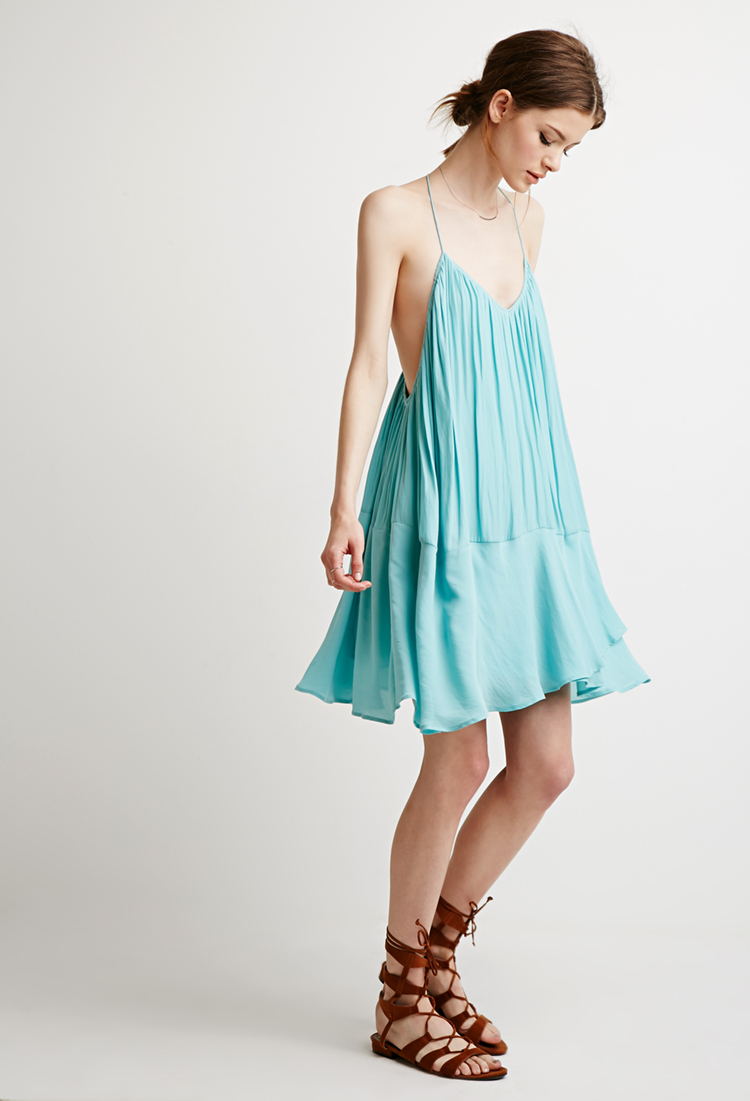Chiffon Trapeze Dress, $29.90   Comes in white or this gorgeous aqua.  I think would make a darling beach cover-up in addition to the cute weekend dress it already is. Sides look a little low, so probably a cute lace bralette underneath and you're set.