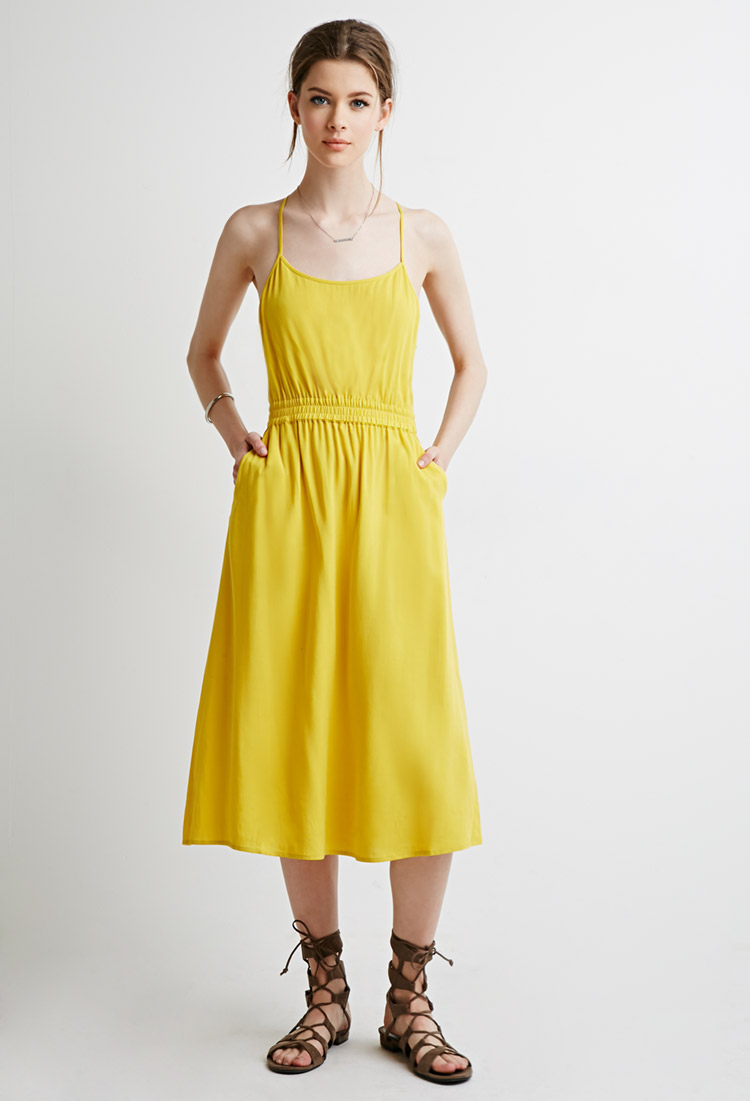 Cutout Cami Maxi Dress, $22.90   It looks like more of a midi length dress, but that's fine by me. Love the fun color, and especially the pockets. Any dress with pockets is a score.