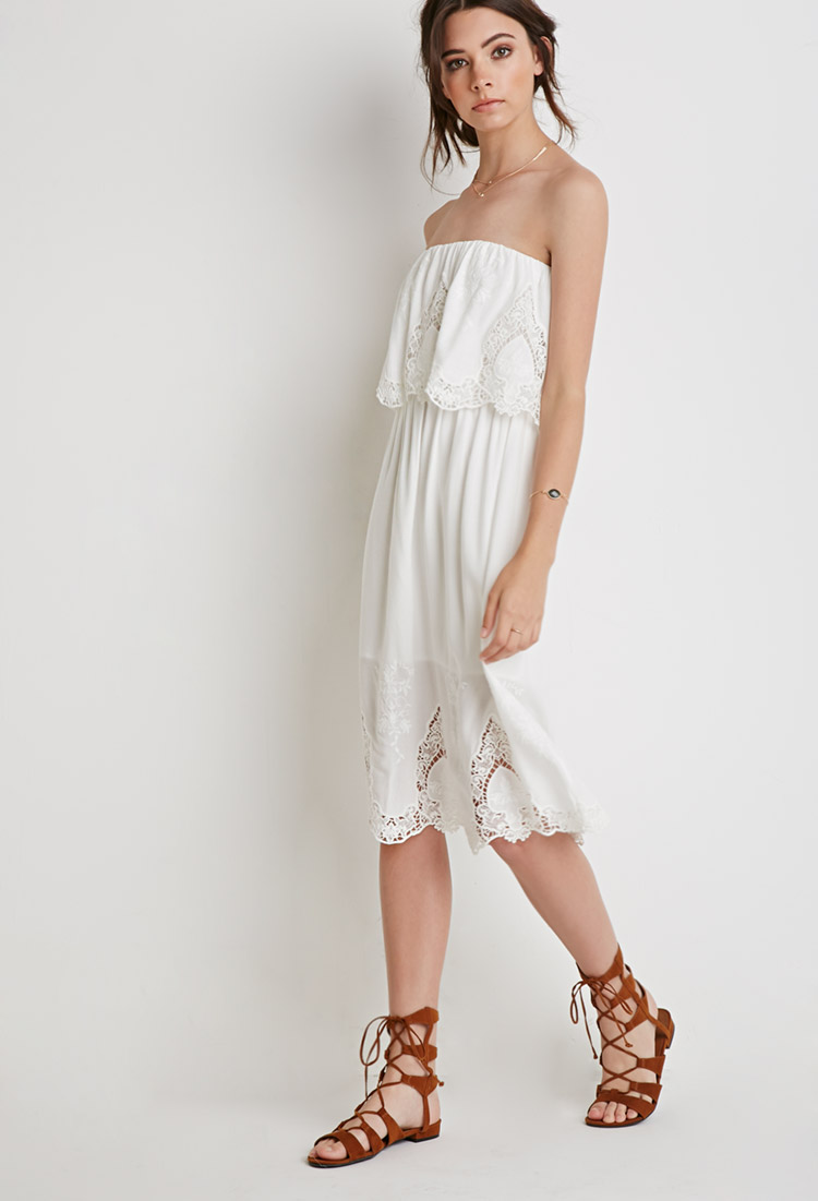 Floral Embroidered Strapless Dress , $34.90  Again another non-Contemporary find, but it's just too cute. I love the white and the ruffles and the embroidery.  I see myself wearing it with a wide-brimmed sunhat while sipping a mojito at a tropical resort.