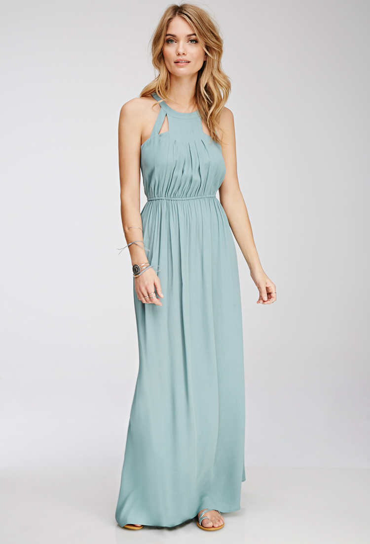 Cutout Halter Maxi Dress , $29.90  In addition to loving the color on this one, I love that it can be for a formal event or the weekend.  Sandals and a sunhat and you're on vacation, heels and some jewels and you're attending a wedding. This would even be a pretty bridesmaid dress (and they'd love you for the price.)