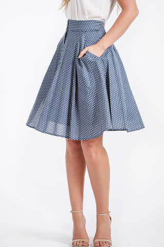 Gabbi High Waisted Blue Polkadot Midi, $58.99