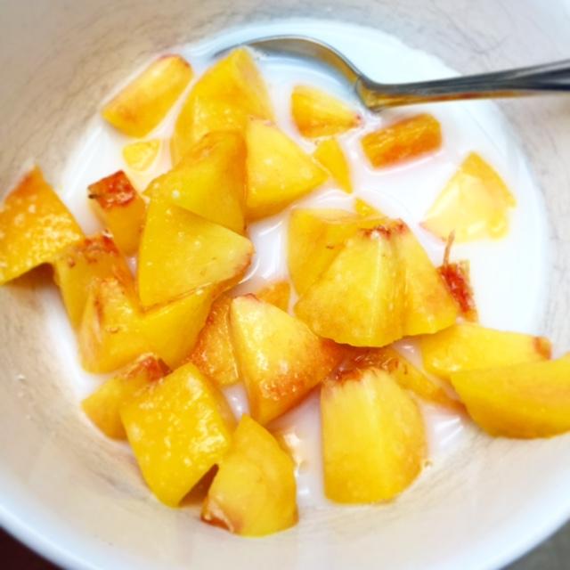 The best summer dessert: peaches and cream.