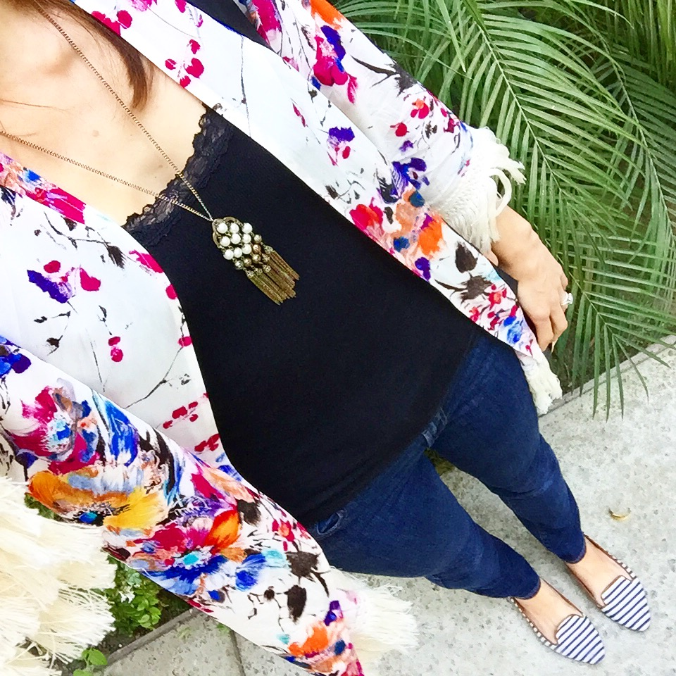Colorful new kimono, and striped flats.
