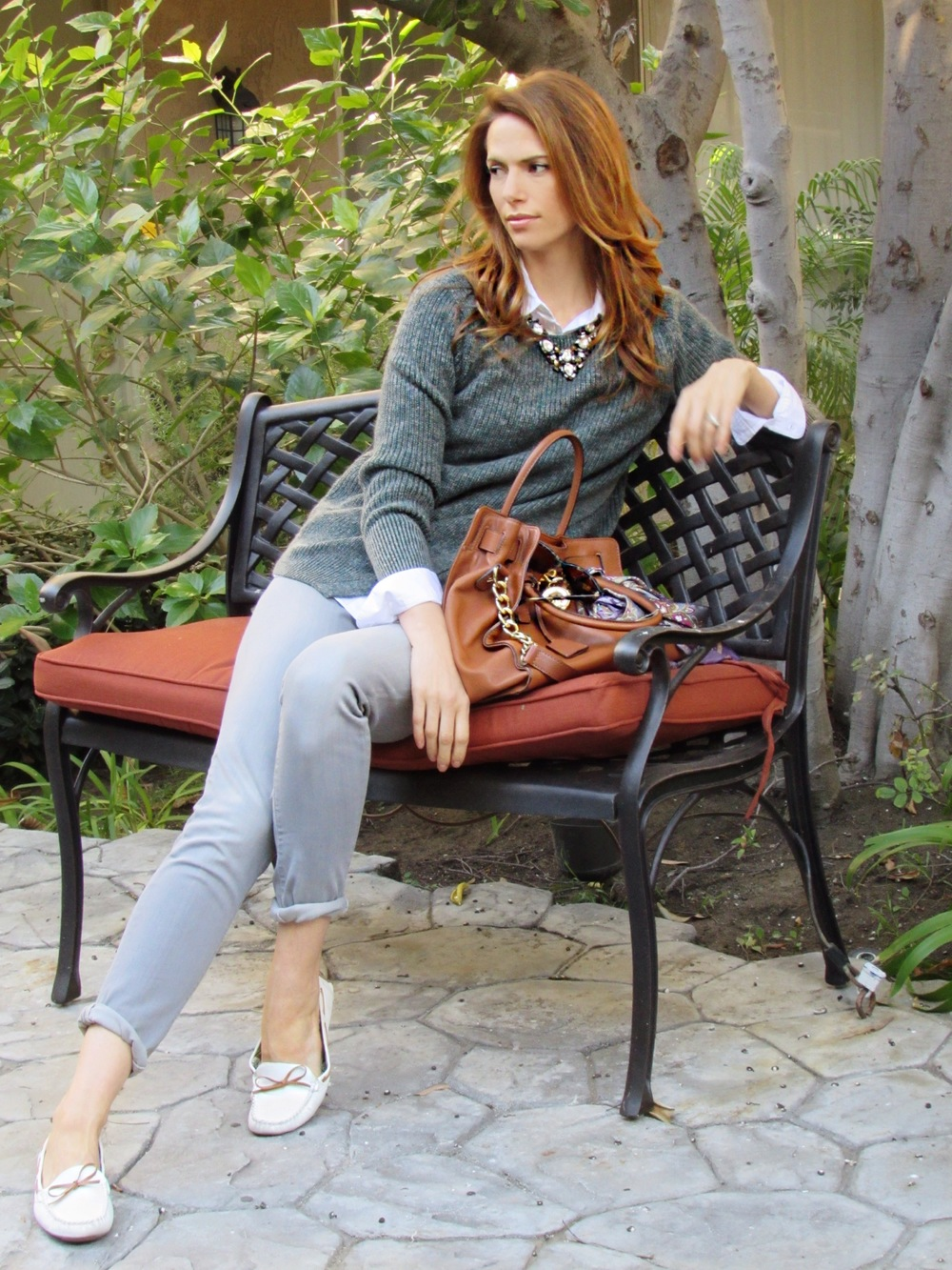 Sweater, Jeans, Shirt, similar loafers, similar necklace, bag