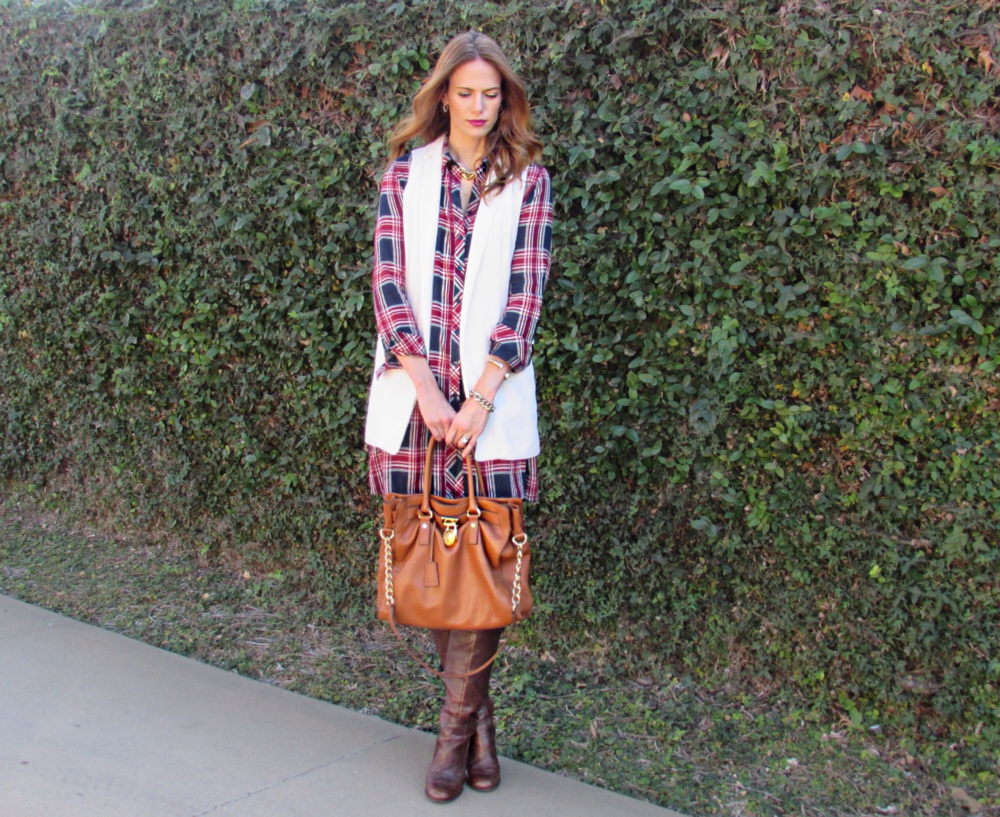 Thanksgiving outfit fall style plaid flannel dress
