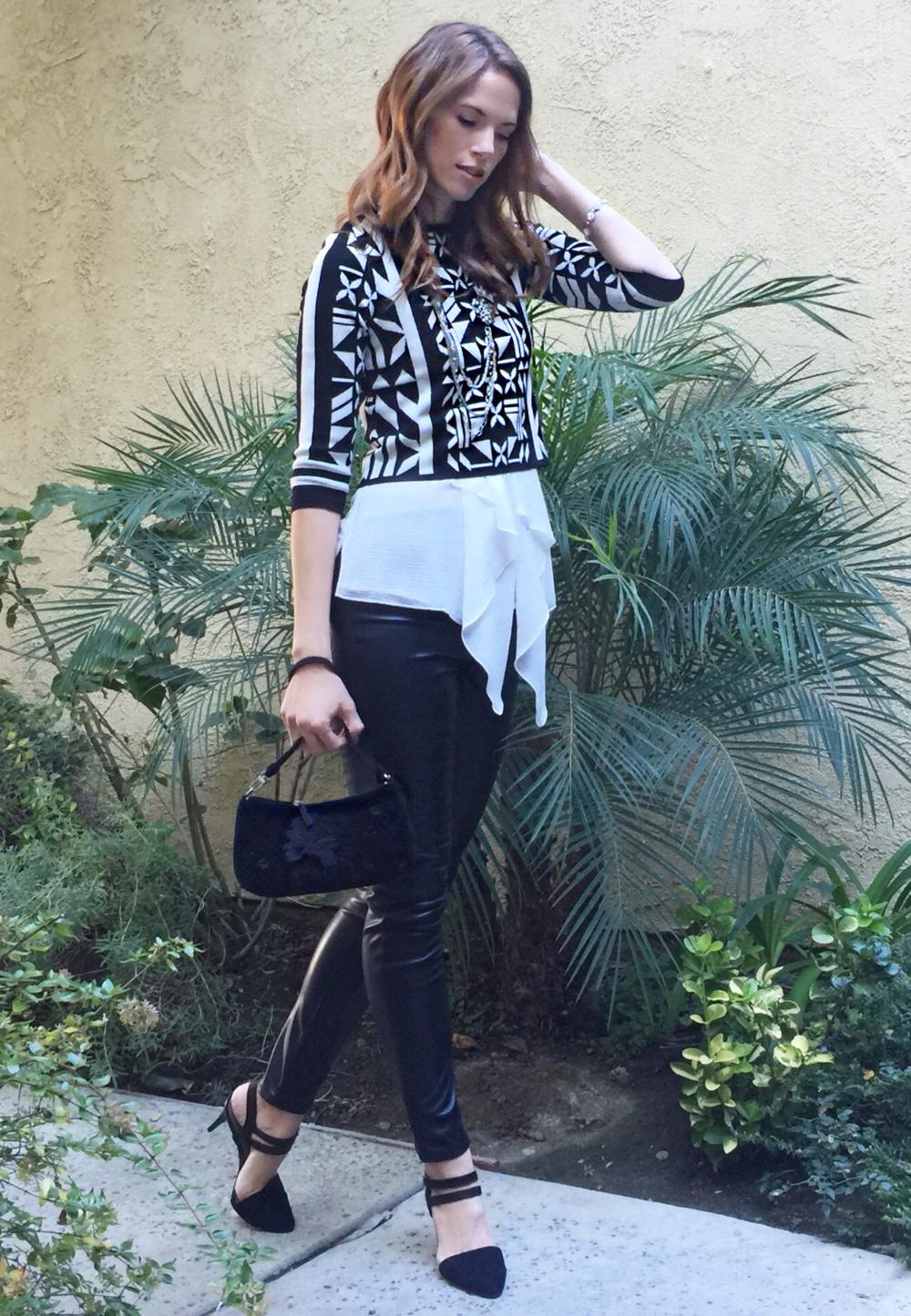Crop top ,  similar long top ,  pants ,  similar bag ,  similar necklace ,  similar shoes
