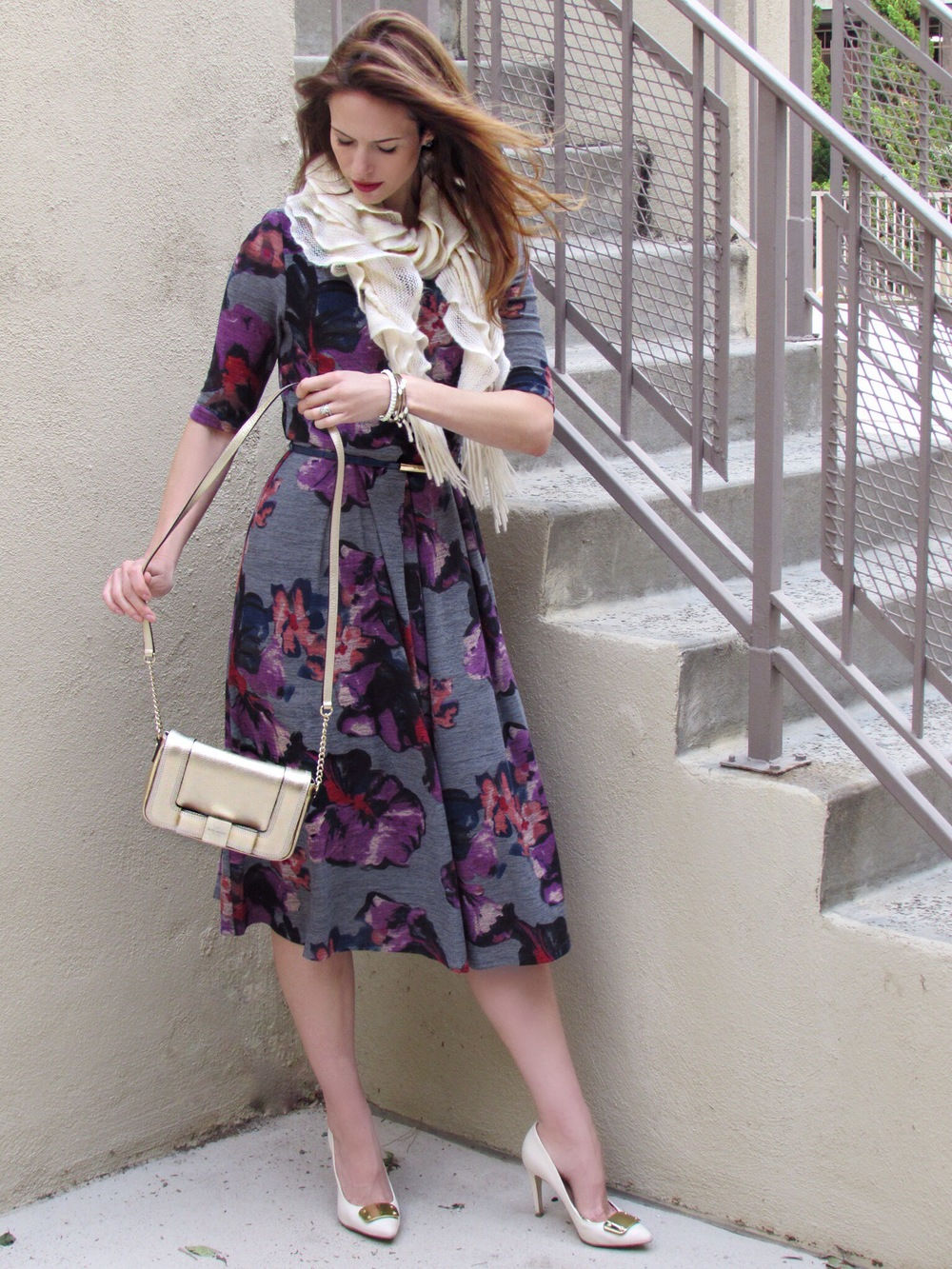 Dress , similar scarf, bag, similar heels, similar bangles