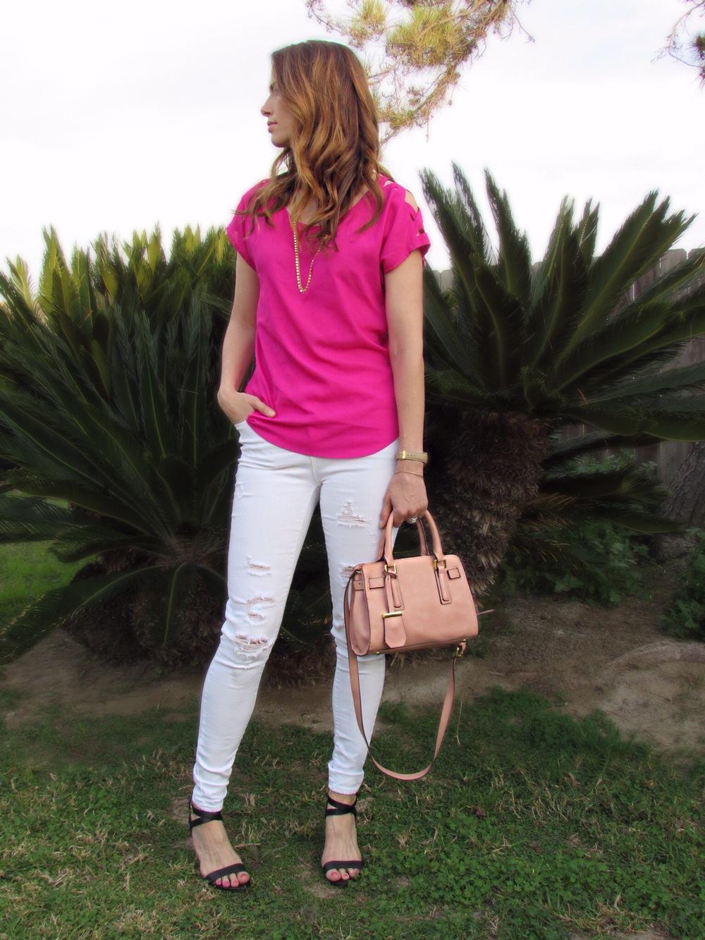 Similar top, necklace, jeans, similar bag, similar shoes