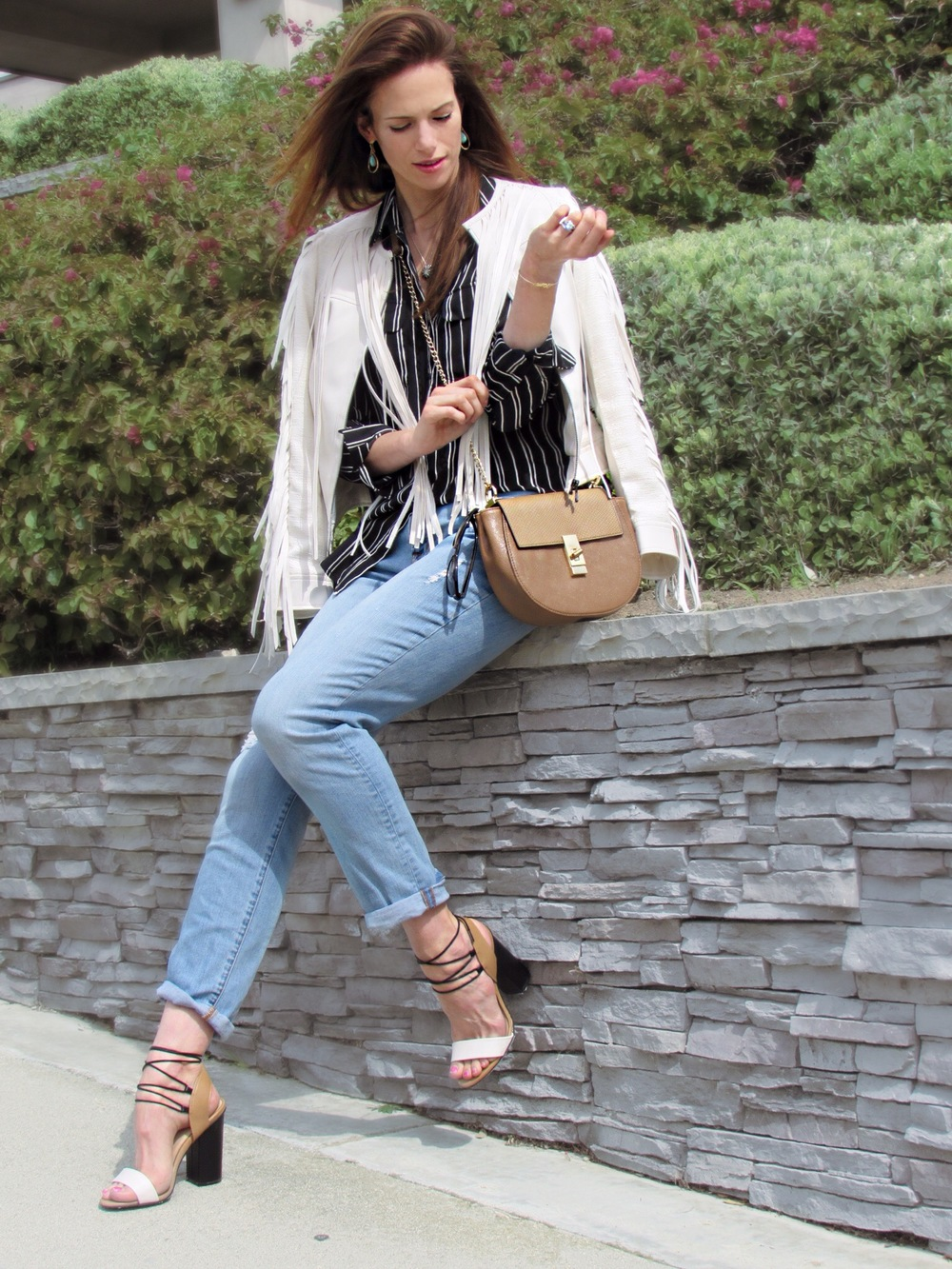 Jacket ,  shirt ,  heels ,  similar bag ,  similar jeans ,  similar earrings