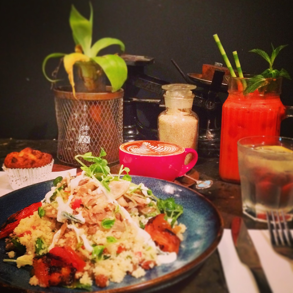 Moroccan Cous-Cous, Carrot,Watermelon & Ginger juice and Toby's Estate freshly brewed Cappuccino