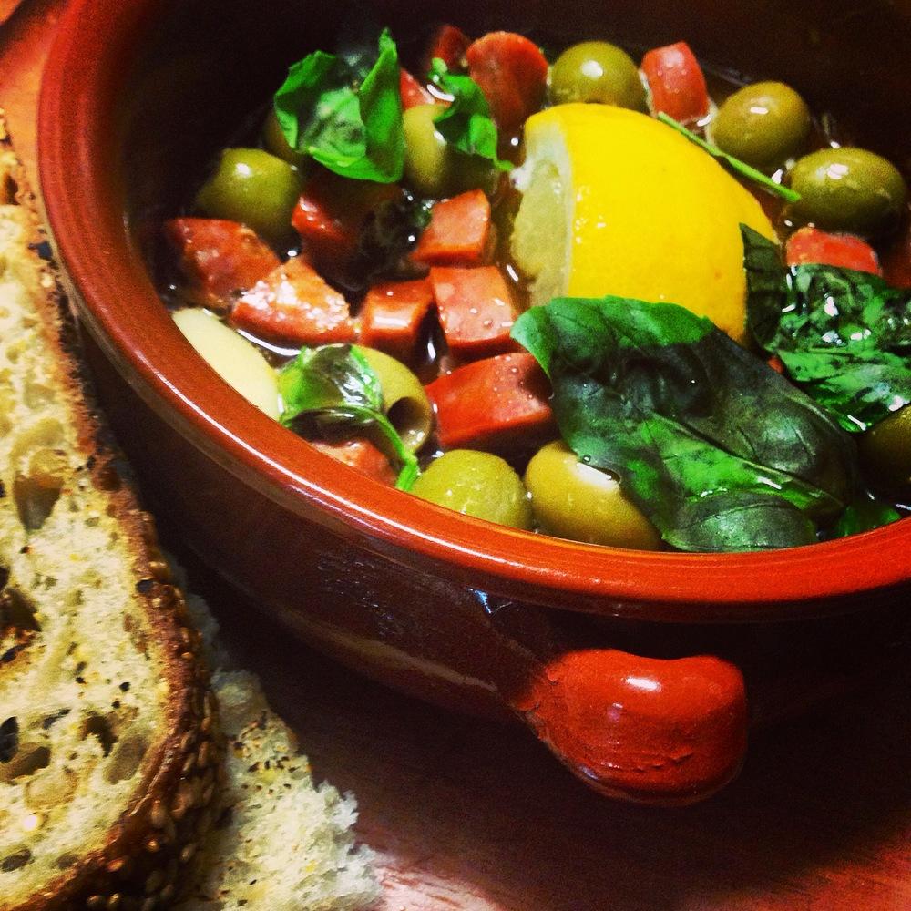 Infused Olives & Chorizo