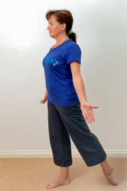 Reach left leg straight back, the top of the foot touches the ground. Without arching your back, shift your pelvis towards the back foot. Do both sides, 30 seconds to a minute each.