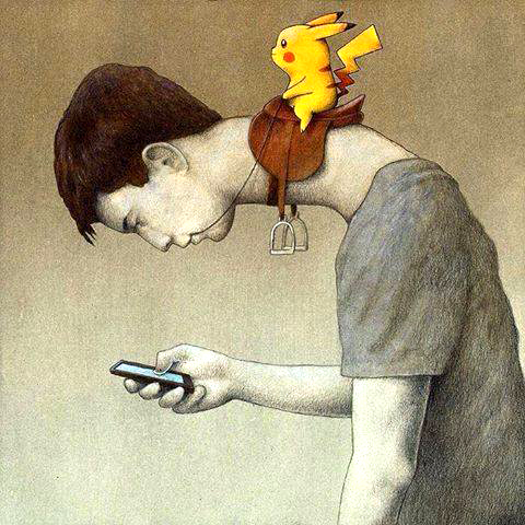 Pokemon Neck: Paweł Kuczyński's image of a Pokemon player is very apt. Please avoid this posture when checking your phone!