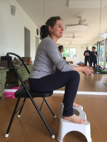 Mastery of the Squatty Potty! Well done Trish who is now in the running for the Acupro Sensa Mat. Get your entry in now (read week 1 Blog post or ask Mel if your not sure about our competition each term)
