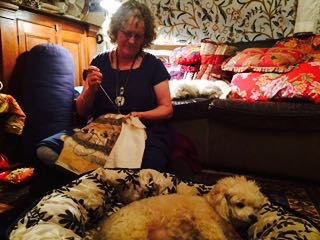 "In Glen's own words....""Dog on couch, stitcher on floor....so much more comfy for all of us....and no backache!!"""