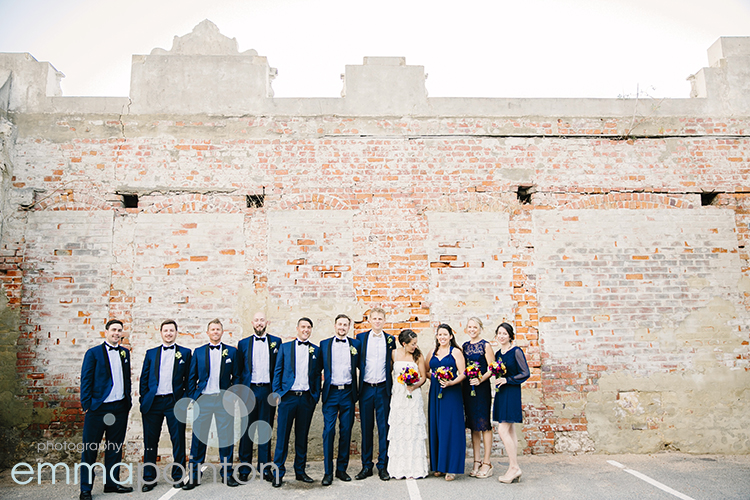 Bridal Party photo on Fremantle Brick Wall