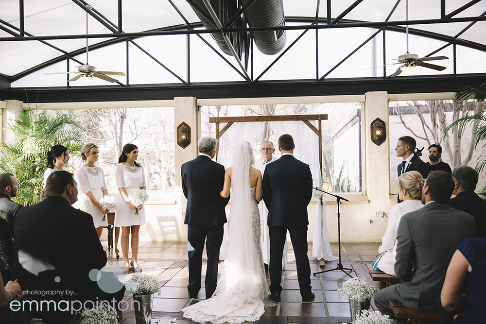Sandalford Winery wet weather wedding option for Emily & Tate's wedding