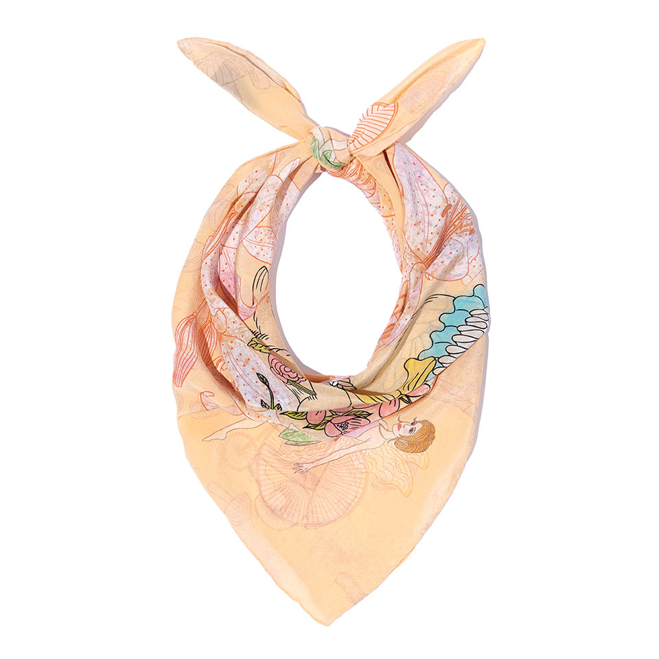 Silk Neckerchief - Woodland Rabbit Silk Crepe De Chine Neckerchief60cm x 60cm