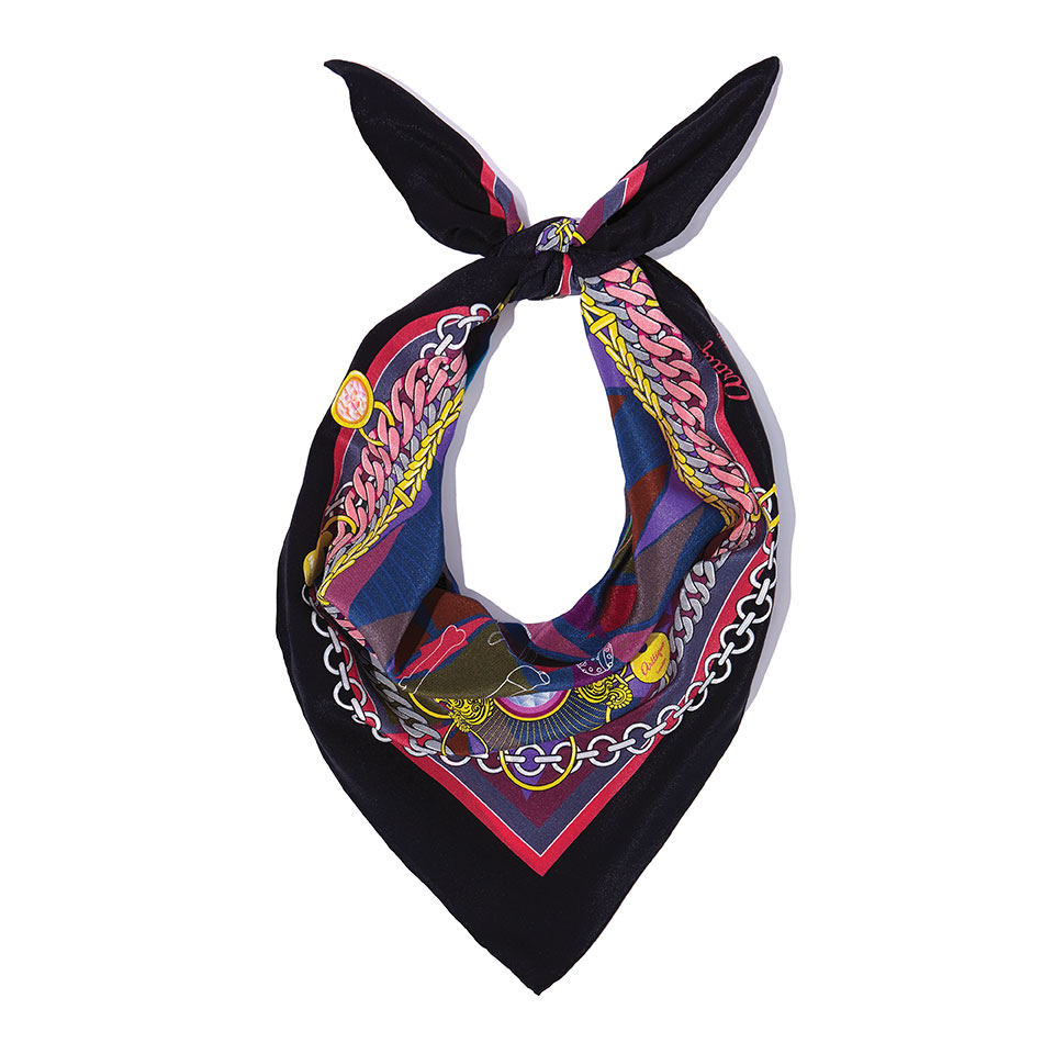Silk Neckerchief - The French Bulldog Silk Crepe De Chine Neckerchief in Black60cm x 60cm