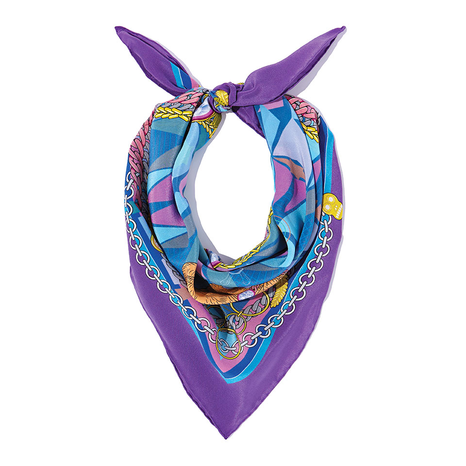 Silk Neckerchief - The French Bulldog Silk Crepe De Chine Neckerchief in Purple60cm x 60cm