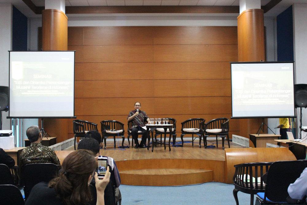 """Seminar """"ISIS dan Dinamika Perkembangan Mutakhir Terorisme di Indonesia"""" di Universitas Indonesia, Rabu, 17 September 2014."""