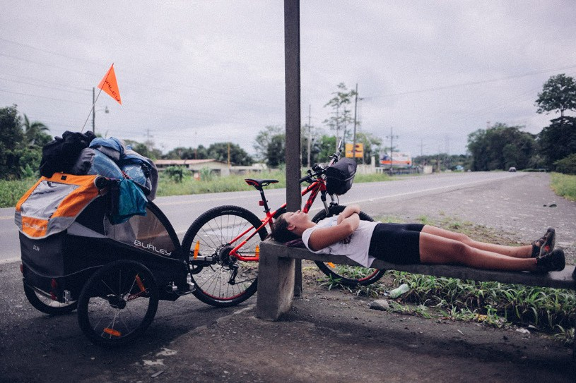 Tired from cycling in Costa Rica