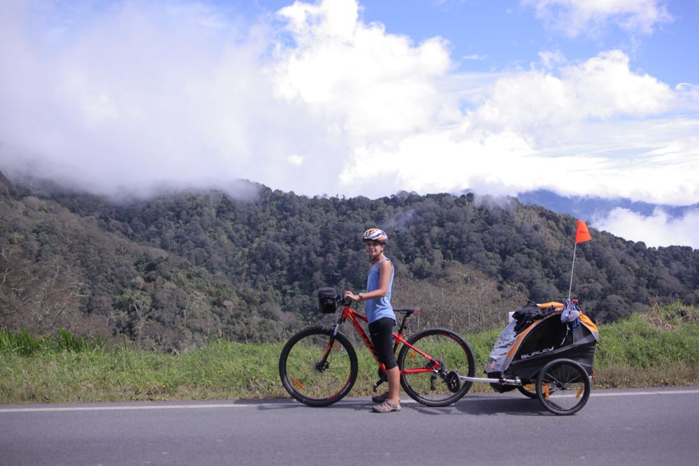 Cycling up a pass in Costa Rica