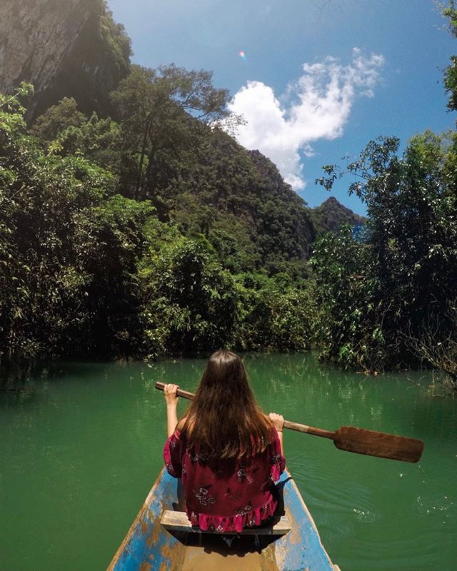 Paddling down a lagoon somewhere in rural Laos 🇱🇦 Thanks for the pic, @dylanhaskin