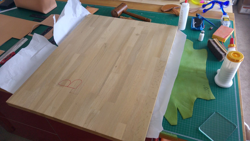 Solid laminated Oak is very useful for compressing the leathers