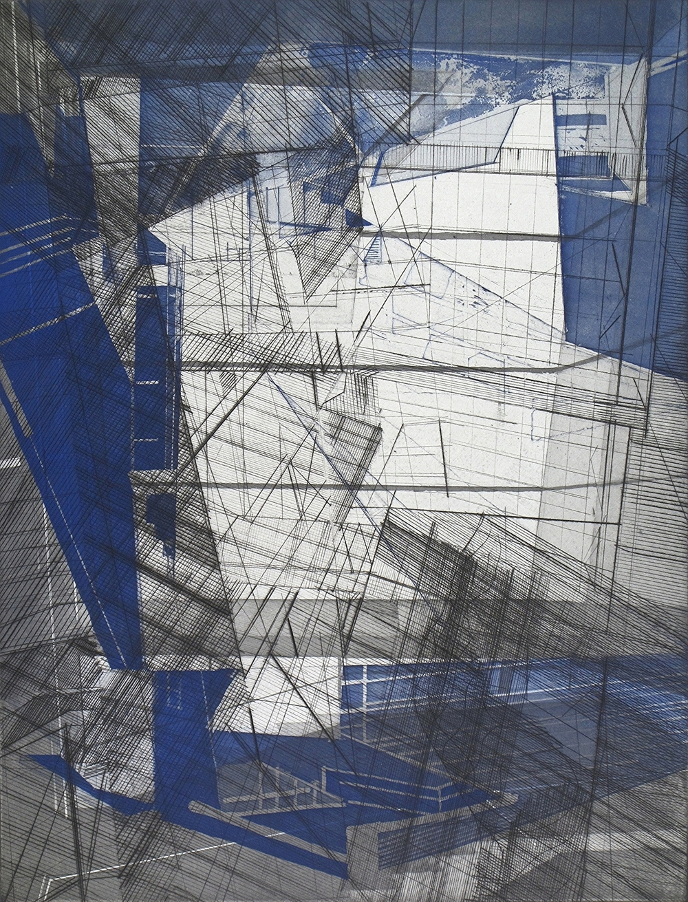 """Folding 2   engraving and etching  on Revere paper  image size: 24x18""""  2014"""