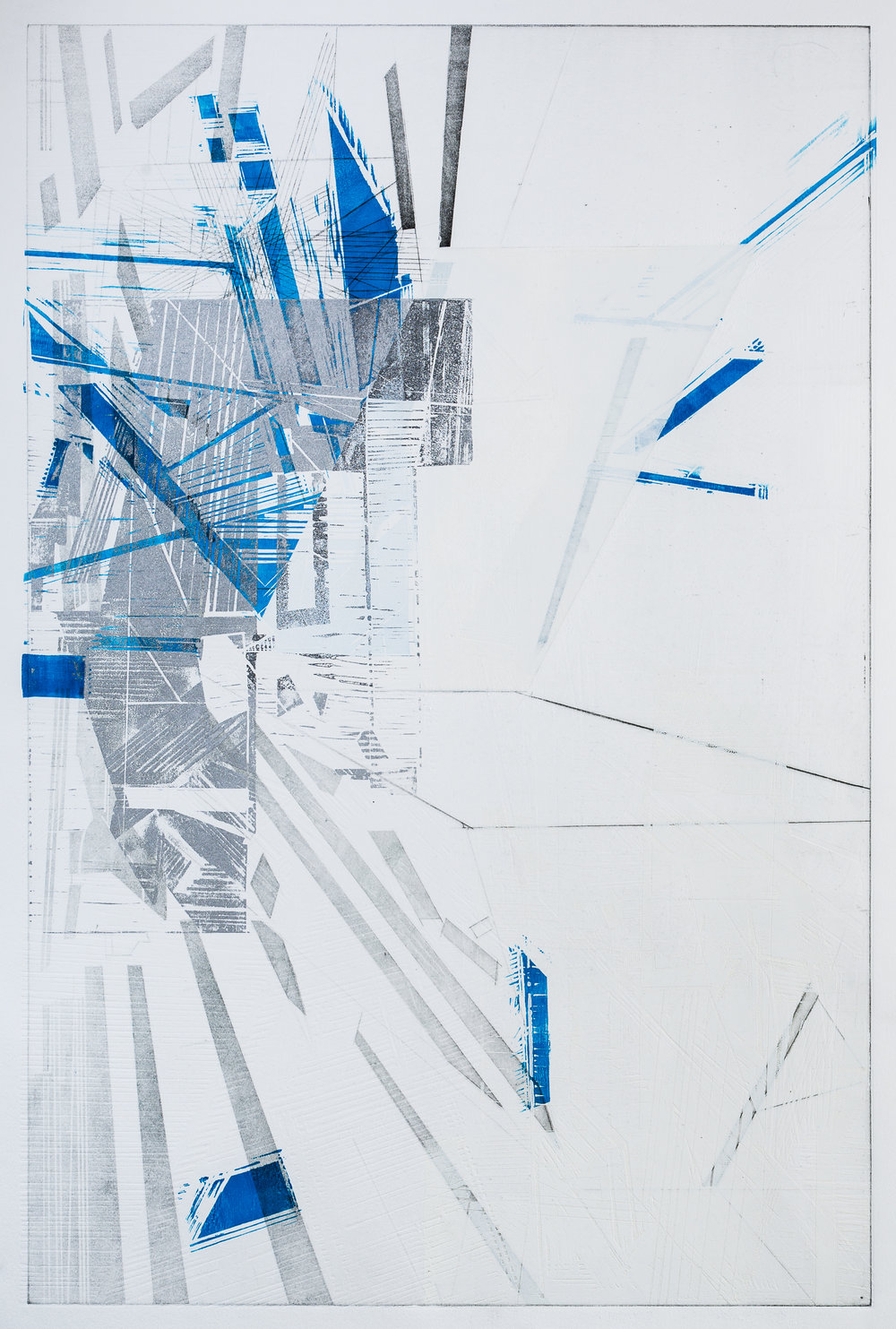 """Analog Site Plan 5  intaglio, woodcut, blind embossing  on Revere paper  image size:36x24""""  2016"""