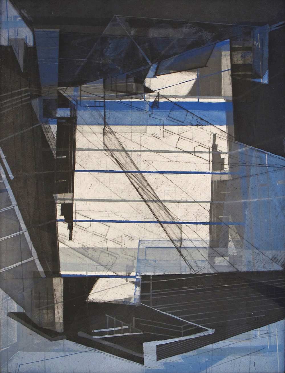 """Architectural Possibles 6   etching and aquatint  on Revere paper  image size: 24x18""""  2013"""