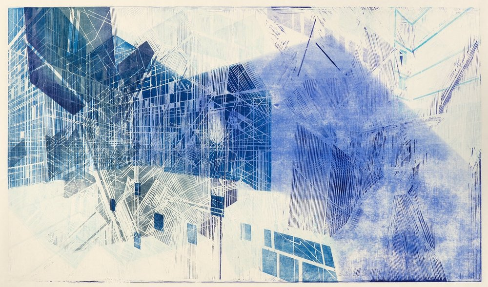 "Schematic 2   woodcut monoprint on  Okawara paper  image size: 35x60""  2015"