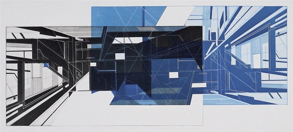 "Hyphen   etching and aquatint  with collage on Revere paper  image size: 14x33""  2016"