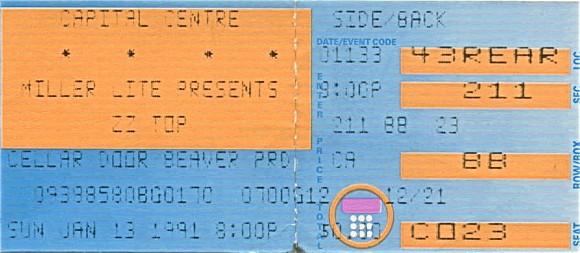 ZZ Top / Black Crowes - January 13, 1991 - Capital Centre, Landover
