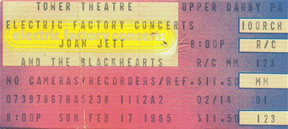 Feb 17, 1985 – Joan Jett and the Blackhearts / The Ramones – Tower Theater