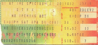 April 4, 1988 – Styx – Philadelphia Spectrum