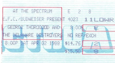 April 2, 1988 – George Thorogood & The DE Destroyers – Spectrum