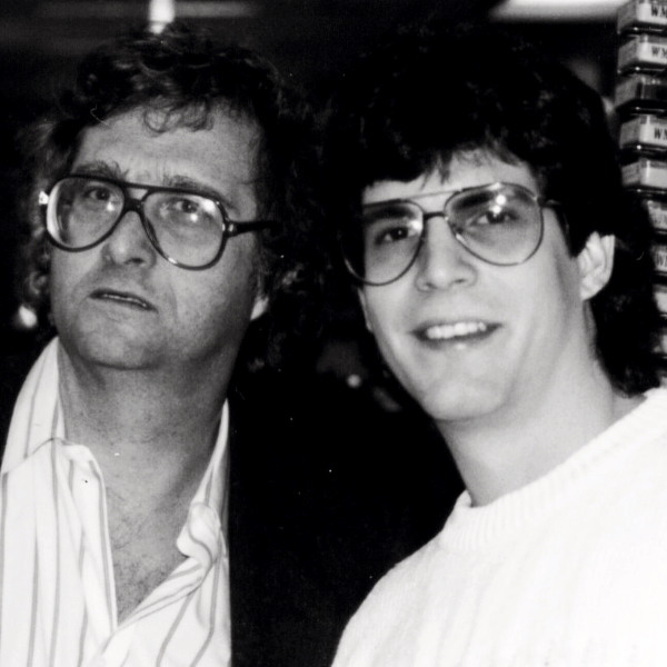 Randy Newman and me at WMMR in 1988.  Big glasses must have a thing back then.