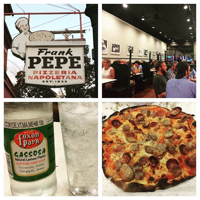 Don't let the shape fool you -- amazing pizza at the original Frank Pepe Pizzeria Neopolitan  #frankpepepizza