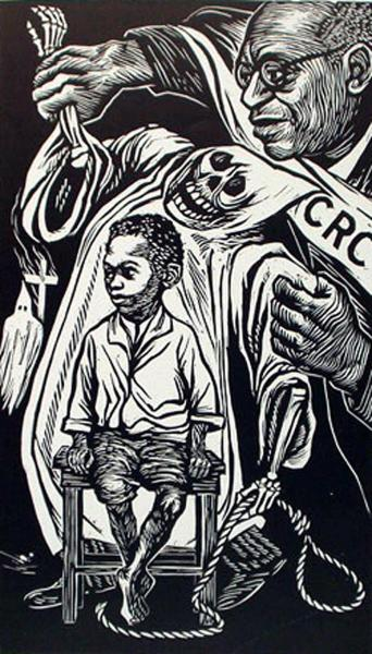 from Art Institute Chicago:     Elizabeth Catlett American, active in Mexico, 1915-2012    Civil Rights Congress  ,  1949   This print,   Civil Rights Congress  , was produced in Mexico but represents Elizabeth Catlett's continued concern for the condition of the African American community in the United States. The piece commemorates William Patterson, a member of the Communist Party and the national executive secretary of the Civil Rights Congress.