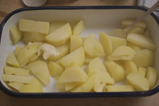 Pre-boiling the potato.  These would take much longer to get crispy.
