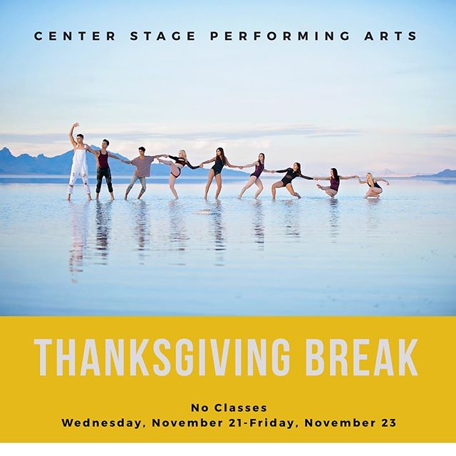 Here's a reminder that we will be closed for Thanksgiving Break and there will be no classes or Studio Rentals Wednesday, November 21st-Friday, November 23rd due to Thanksgiving Break. We will be open Saturday, November 24th 8:30AM-4:00pm for Studio Rentals.  Enjoy the break and classes will resume Monday, November 26th!
