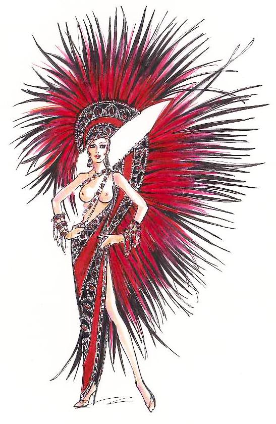 Jubilee Las Vegas Costume Illustration By Bob Mackie